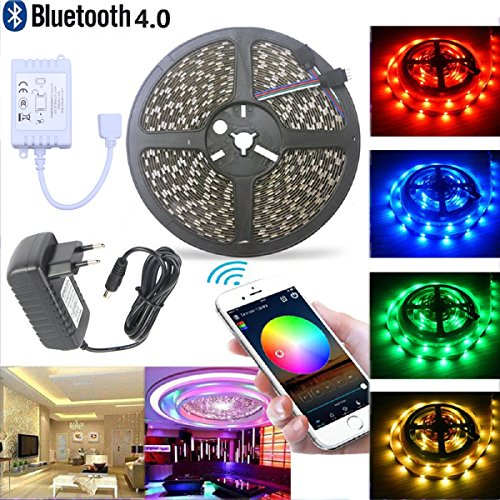 Dream color bluetooth strisce led, 16.4ft/5m striscia luminosa led smartphone controllo, 5050 rgb smd 150leds multicolore striscia di luce non impermeabile , con 12v 2a alimentazione adatto + telecomando bluetooth per android e ios