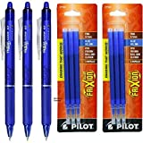 Pilot Frixion Clicker Retractable Erasable Blue Gel Ink Pens, 3 Pens with 2 Packs of Refills by Frixion Clicker
