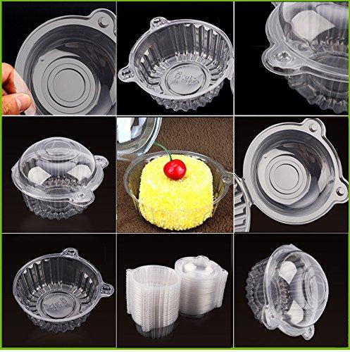 Einweg-Lebensmittelbox mit transparentem Kunststoff zur Aufbewahrung von Muffins, Obst, Cupcakes, Packung mit 100 Stück (Kunststoff-obst-anzeige)