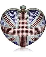Damen Union Jack Heart Diamantes Skull Clutch Abentasche - KCMODE