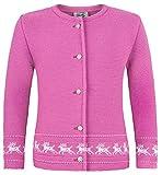 Strickjacke Jenny mit Hirschstickerei Pink Gr. 128 - Wunderschöne Trachtenjacke für Mädchen zu Oktoberfest, Kirchweih oder Ausflug