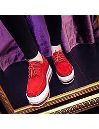 &HZOU Otoño/invierno/nueva/creciente Coreano/nubuck cuero / / moda/juventud/marea zapatos/simple/étnico/mujer/cómodo/Joker , red , 38