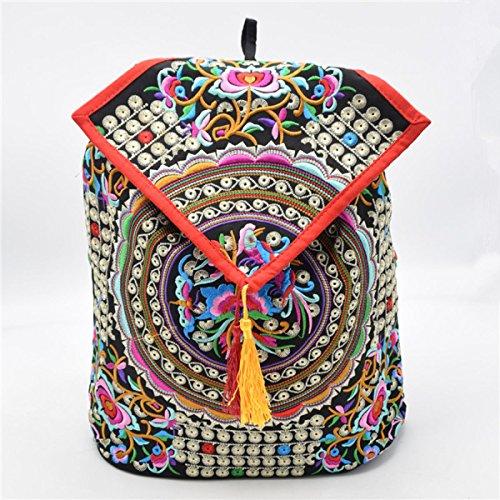 Damemädchensegeltuch-Rucksack Gedruckt Ethnic Schule Shouldre Tasche Reisetasche Multicolor 07