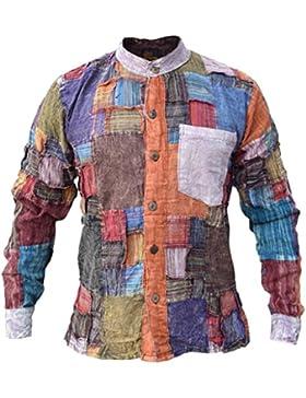 Little Kathmandu – camicia uomo a toppe in cotone a maniche lunghe casual, maglia senza colletto, Kurta