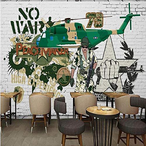 Wallpaper-BC Fototapete Militärhubschrauber Tarnung Backsteinmauer Fresko Internet Cafés Bar Restaurant Tapete Korridor Benutzerdefinierte Wandbild-260×254CM