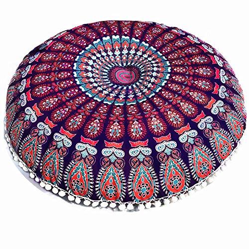 Vovotrade Kissenbezug Große Mandala-Boden Kissen Runde Bohemian Meditation Kissenbezug Ottoman Hocker Kisse Sitz Deckel Hippie Dekorativ unkonventionell Boho Indisch -