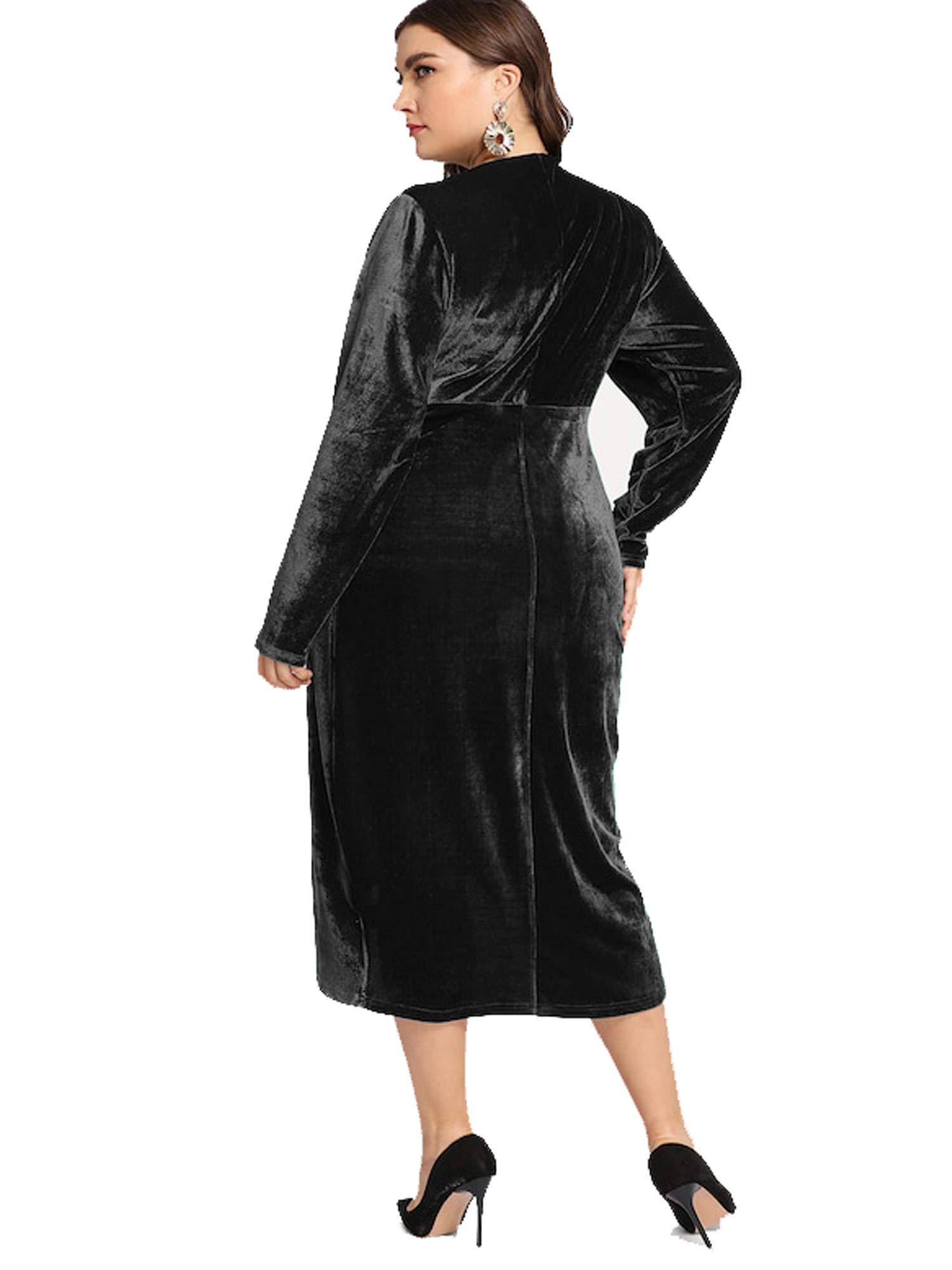 ff607d18ee ... dress ESPRLIA Women s Plus Size High Waist Velvet Sexy Faux Wrap Pencil  Cocktail Midi Dresses. Sale!   