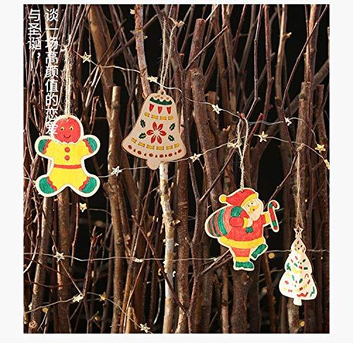vijTIAN - Mini Campane in Legno per Albero di Natale Fai da Te, Decorazione per la casa, Natale D