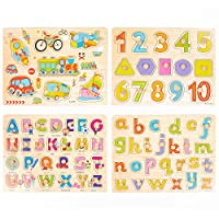 THE TWIDDLERS 4 SETS WOODEN JIGSAW WOODEN PUZZLE FOR KIDS - ALPHABET ABC NUMBERS SHAPES - EARLY EDUCATION, INTELLECTUAL DEVELOPMENT, RECOGNITION TOY EDUCATIONAL FOR TODDLER PRESCHOOLER BOYS GIRLS