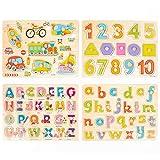 4 Pcs Puzzle in Legno Per Bebè - Puzzle Veicoli Lettere Alfabeto Abc, Numeri En Forme Per Apprendimento Nella Prima Infanzia - Gioco Educativo Per Bambini - Metodo Montessori