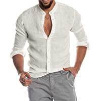 Minetom Uomo Camicia in Lino Slim Fit Henley Shirts Estate Elegante Casual Maniche Lunghe Camicie Spiaggia Regular Fit…