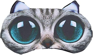 ULTNICE 3D Big Eyes Cat Mask Cartoon Animal Sleeping Blindfold Cotton Cooling Eyeshade for Travel Home Office Rest