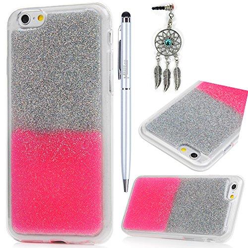 iPhone 6S Plus Cover Silicone e Bling Glitter Brillanti, iPhone 6 Plus Custodia Morbida TPU Flessibile Gomma QuickSand Stella - MAXFE.CO Case Sottile Cassa Protettiva per iPhone 6 Plus / 6S Plus - Bli Bling Rosa