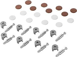 Möbelverbinder Exzenter Schrank-Verbinder MINIFIX 15 mm | Abdeckkappen braun & weiß | Verbinder für Bohrloch Ø 5 mm | Komplett-Set - MADE IN GERMANY | Möbelbeschläge von GedoTec®