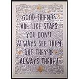 Page de dictionnaire Best Friends Citation vintage Décoration murale Tableau imprimé étoiles mignon