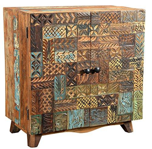The Wood Times Kommode Schrank Massiv Vintage Look Agra Holz FSC Recycelt, BxHxT 110x80x40 cm