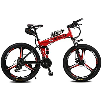 Lvbeis Adultos Bici Electrica de Montaña Plegable Bicicleta con Asistidas Al Pedaleo PortáTil E-Bike 25 KM/h Bicicleta,Red