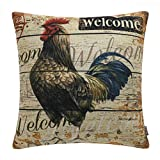 TRENDIN Square Pillow Cover - 18 X 18 Inch Decorative Throw Pillowcase, Farmhouse Rooster PL226TR