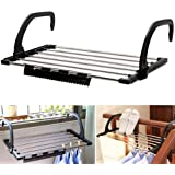 HOME CUBE 1 Pc Foldable Drying Rack, Indoor/Outdoor Easy Install Folding Clothes Towels Drying Rack Shoe Rack Hanging on The