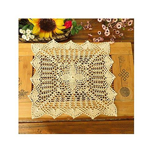 aspire 4 pcs 15,2 cm + 1 Pcs 40,6 cm rétro carré Dentelle en Coton Crochet Fait Main napperons de Table, Coton, Beige, Taille Unique