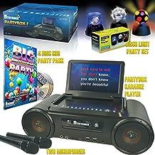 Mr Entertainer Partybox Karaoke máquina gran fiesta paquete. Incluye fiesta discoteca luces, CDG canciones y dos micrófonos