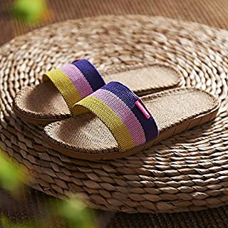 fankou Linen slippers summer female light levels between men and women with family foam floor wooden floor home cotton linen cold spring and summer and,37-38,A- lemon yellow