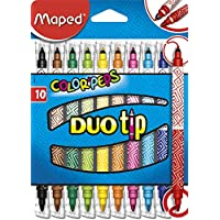 Maped Color' Peps - Pack de 10 rotuladores, doble punta fina y gruesa