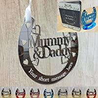 Wedding Anniversary Gifts Personalised Mummy & Daddy, Auntie & Uncle, Grandparents & Parents plus MORE FAMILY RELATIONS - Good Luck Bridal Horseshoe (Includes stand) - Size: 129mm x 120mm - Little Shop of Wishes