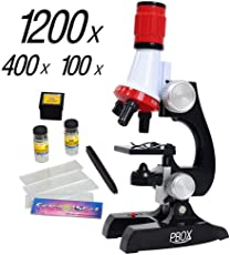 Science kits for kids microscope Beginner Microscope Kit LED 100X, 400x, and 1200x Magnification kids science...