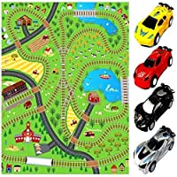 Rexco Giant Kids Childrens Railway Track Lines City Playmat Fun Town Trains Cars Play Village Farm Road Carpet Rug Toy Mat