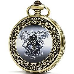 SEWOR Fashion Bronze Quartz Enamel Tiger Skull Dragon Pocket Watch Black Dial + Leather Gift Box