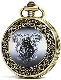SEWOR reloj para Fashion Bronce cuarzo esmalte tigre calavera dragón reloj de bolsillo Esfera Negra Piel + caja de regalo