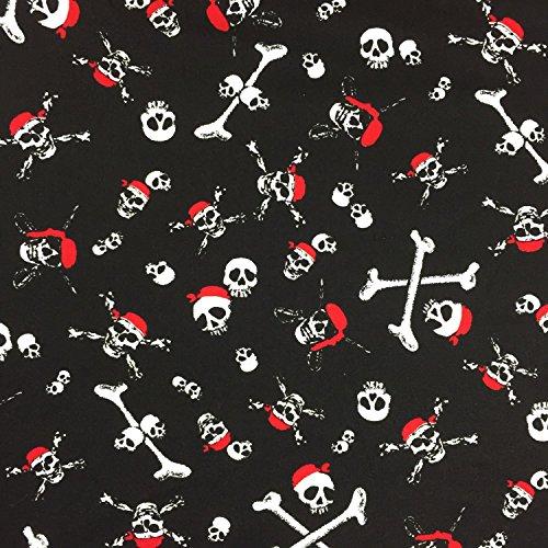 Bandana Schlafanzug (Schwarz Halloween Red Bandana Design 100% Baumwolle gedruckt Stoff für,, Kleid 152,4cm 150cm breit–Meterware)