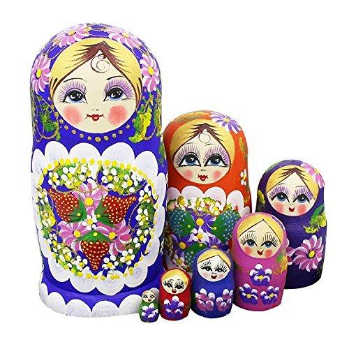 Winterworm Juego de 7bayas y flores patrones de madera Nesting Dolls Matryoshka ruso muñeca perfecto regalo para el día de la madre