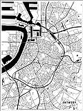 Poster 30 x 40 cm: Antwerpen Belgien Karte von Main Street