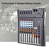 Ammoon 60S Table de mixage mélangeur Audio 3bandes d\'égalisation usb XLR USB Entrée 48V Alimentation fantôme avec adaptateur d\'énergie 6 canales