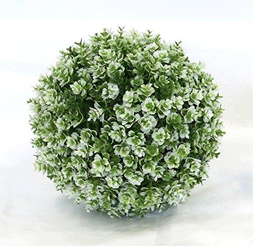 Decoline Kunstpflanze 2er Set Graskugel grün, weiß