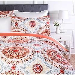 AmazonBasics - Juego de ropa de cama con funda de edredón, de microfibra, 135 x 200 cm, Coral (Coral Medallion)