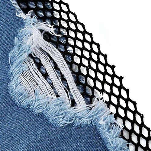 Pantaloncini donne Koly_Estate delle ragazze per il tempo libero Pesca pantaloni di bicchierini netti rotto foro Filati Jeans Blue