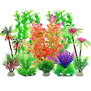 Aisamco Aquarium Plastic Plants, 10 Pcs Aquarium Plants Fish Tank Decorations, Aquarium Artificial Plants Aquarium Decoration