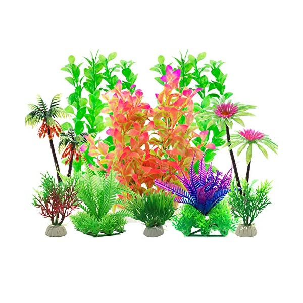 Aisamco Aquarium Plastic Plants, 10 Pcs Aquarium Plants Fish Tank Decorations, Aquarium Artificial Plants Aquarium Decoration