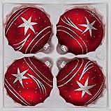 4 tlg. Glas-Weihnachtskugeln Set 8cm Ø in