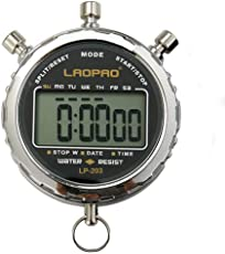 LAOPAO Digitale Stoppuhr, Handheld Großes LCD-Display Wasserdicht täglich Alarm 1/100 Sekunden Precision Timer Für Fussball Sports Training