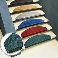 casa pura Stair Tread Mats Leipzig, Graphite, 15 Piece Set (23 x 65 cm) - Multiple Colours   Durable, Non-slip, Protection