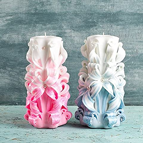 Candles set - Wedding decorative candles - Blue and Pink
