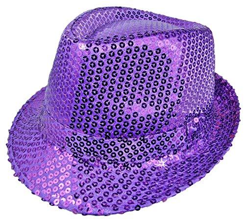 Vegas Kostüm Showgirls - Das Kostümland Glitzernder Popstar Hut mit Pailletten - Lila - Partyhut zum Show, Disco und Faschingskostüm
