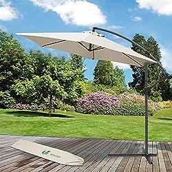 Parasol déporté hexagonale 3M avec Manivelle Anti-Retour | Parasol déporté inclinable | Toile 180 gr/m2 avec protection UV | Hauteur 2m50 - 6 Baleines en acier | Inclus housse de protection Beige