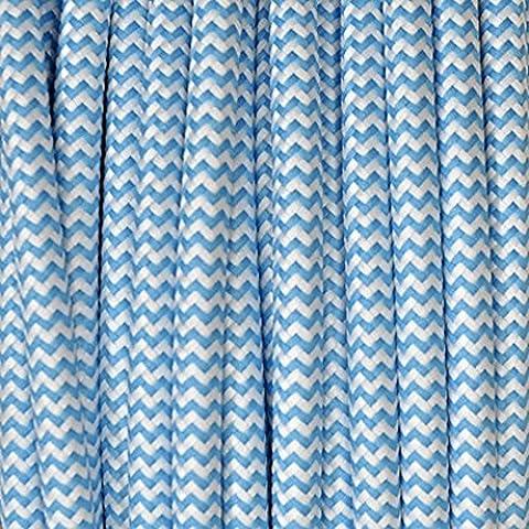L D-Filo elettrico rivestito in tessuto, motivo zebrato, colore: blu