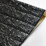 KINLO 10 Stücke Tapete Pattern 70x77x1cm schwarz Verdickt selbstlebend Wandpaneele 3D modern Wasserdicht Brick aus hochwertigem PVC für Zimmer 2 Jahren Garantie