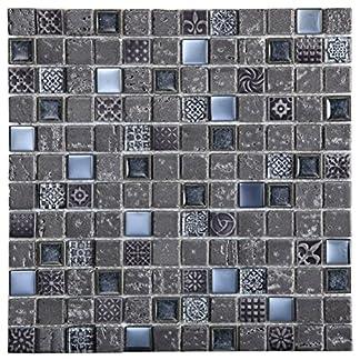 Mosaico de Vidrio y Mármol en Malla DEC-47082ANXSM2, Gris, 8 mm, 30 x 30 cm